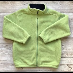 Lands End Girls Sz L Green Fleece Jacket EUC